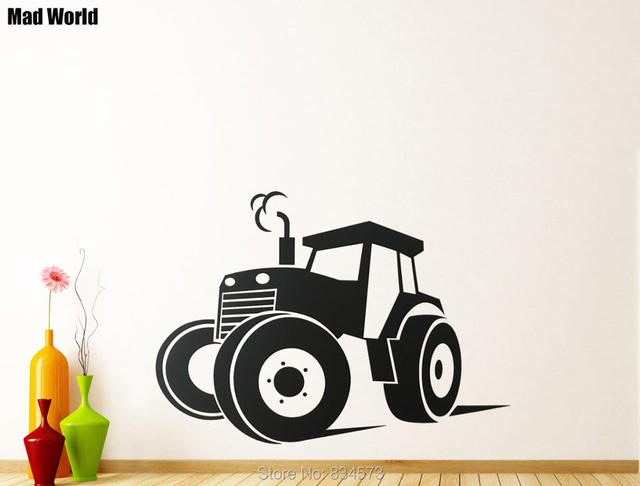 Mad world tractor farm silhouette wall art stickers wall decal home diy decoration removable room