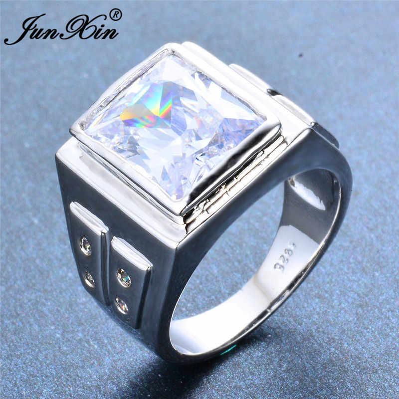 Простые Стильные мужские и женские кольца из серебра 925 пробы, кольцо с голубым белым цирконием, обручальные кольца для мужчин и женщин