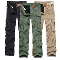 Calças de BRIM DOS HOMENS 2016 de Carga Calças Jeans Cintura Elástica de Alta Qualidade tático Denim Multi-bolso Das Calças Masculinas Jeans Skinny Carga para homens