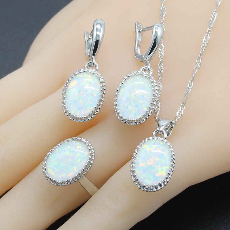 925 Sterling Silver Bridal Jewelry Sets Oval White Blue Opal 8 Colors Zirconia For Women Necklace Pendant Ring Earrings