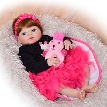 """Newborn Doll Fashion 23"""" Reborn Doll Babies Full Body Silicone 57cm Lifelike Girl Baby Doll Wear Princess Dress Child Xmas Gift"""