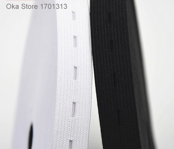 2cm*5M black white elastique webbing button hole fitas strong elastic band Elastic ribbons strip tape for DIY sewing cloth