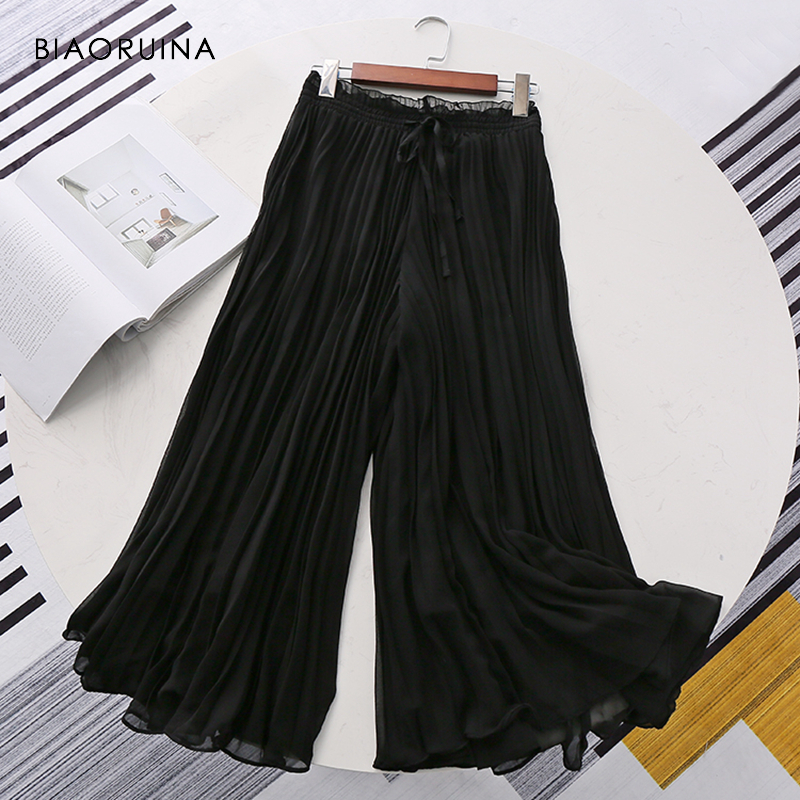 BIAORUINA Women Chiffon Elegant   Wide     Leg     Pant   Ankle Length Female Loose Casual High Waist   Pant   Women's Solid Chic   Pant   Trousers