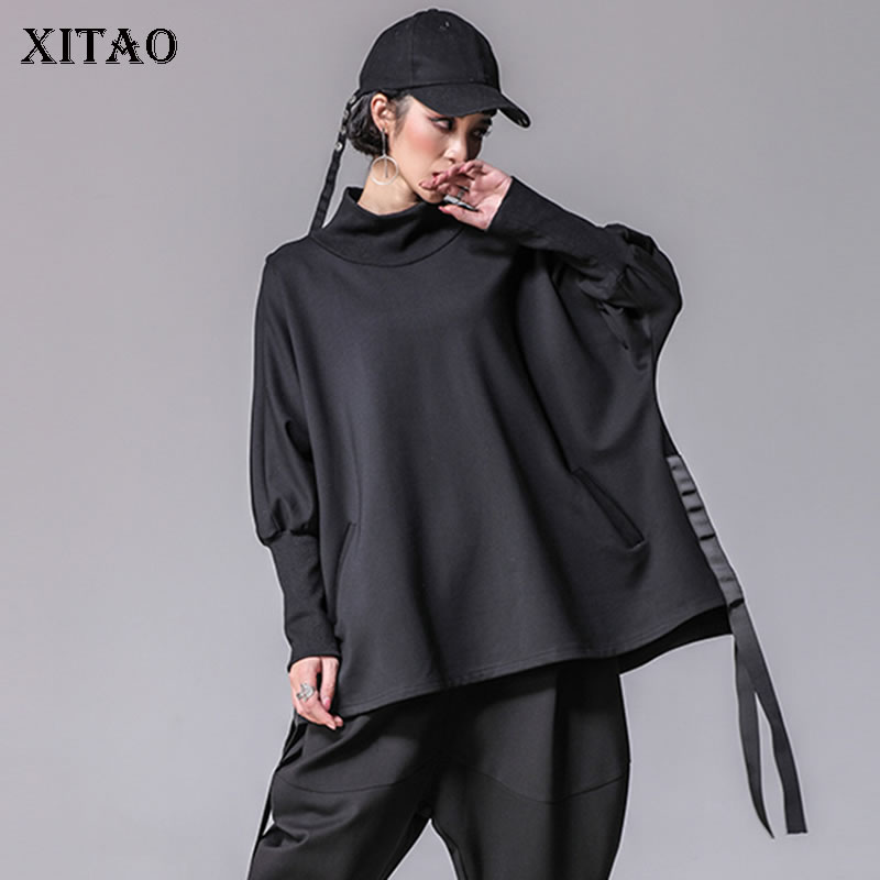 [XITAO] Casual Spring 2018 New Loose Turtleneck Bandage Europe Women   T  -  Shirts   Solid Color Batwing Sleeve Female Tees XWW2955