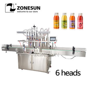 ZONESUN Liquid-Filling-Machine Water-Juice Automatic with Conveyor Plc-Control Send Beverage-Production-Line