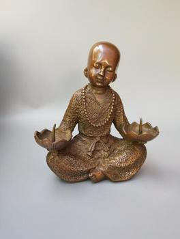 China's pure brass Little monk lotus candlestick crafts statue