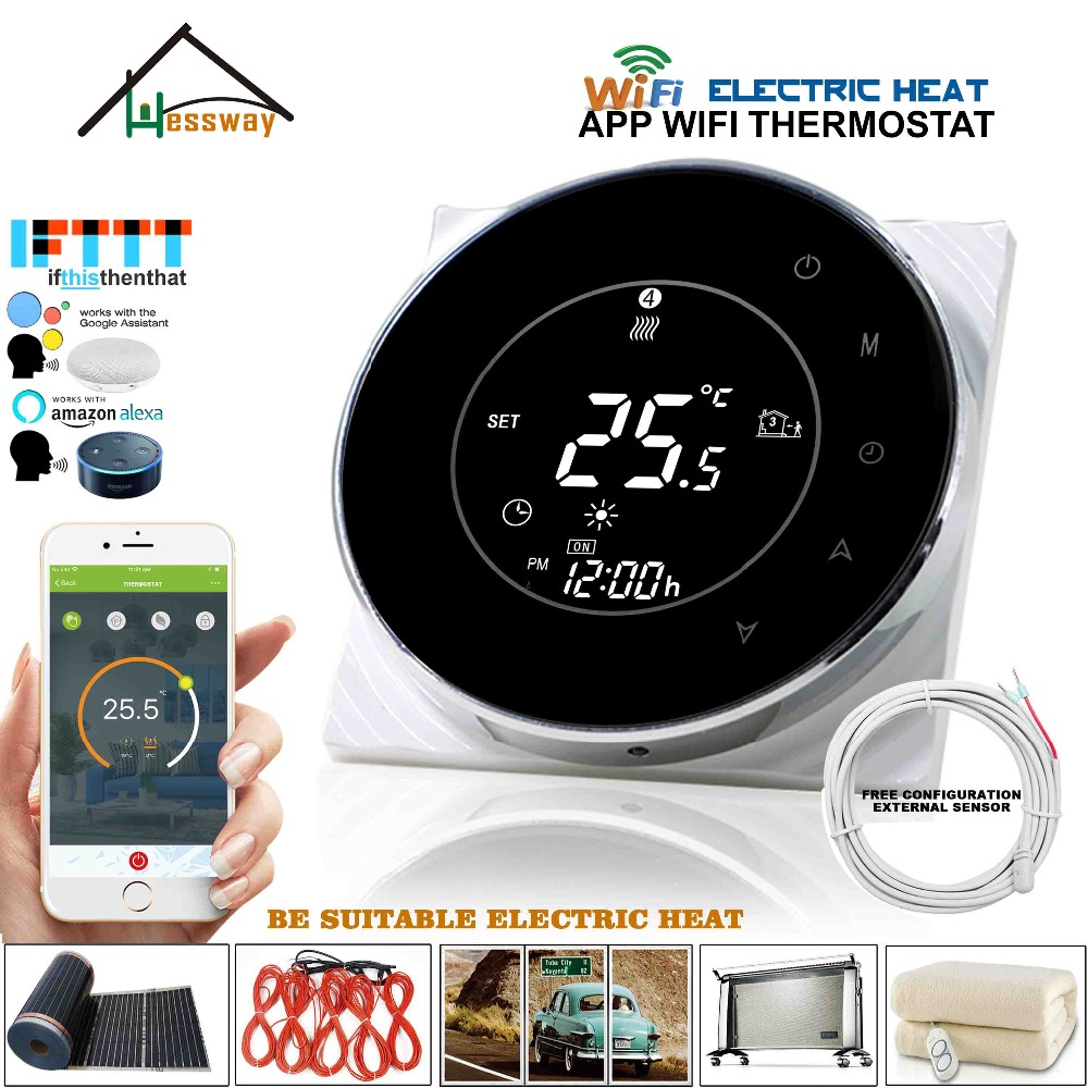 16A 250V Dual Sensor Floor Heating Thermostat Sensor Wifi Wireless Temperature Controller For  Works With Alexa Google Home