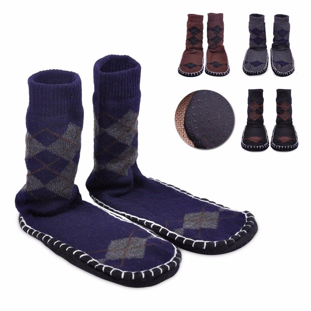 ciciTree Men Non Slip Floor Slipper   Socks   Long winter thickening slip-resistant adult floor   sock   Men at home indoor shoes   sock