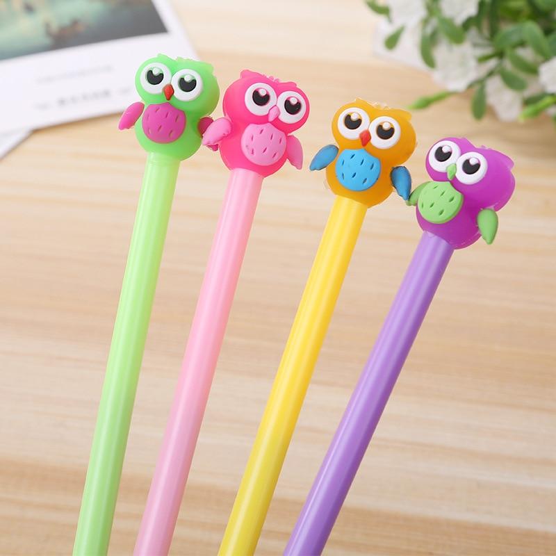 20 PCs Cute Owl Gel Pen South Korea Cartoon Water Pens Student Kawaii School Supplies Pen for Writing Material Escolar