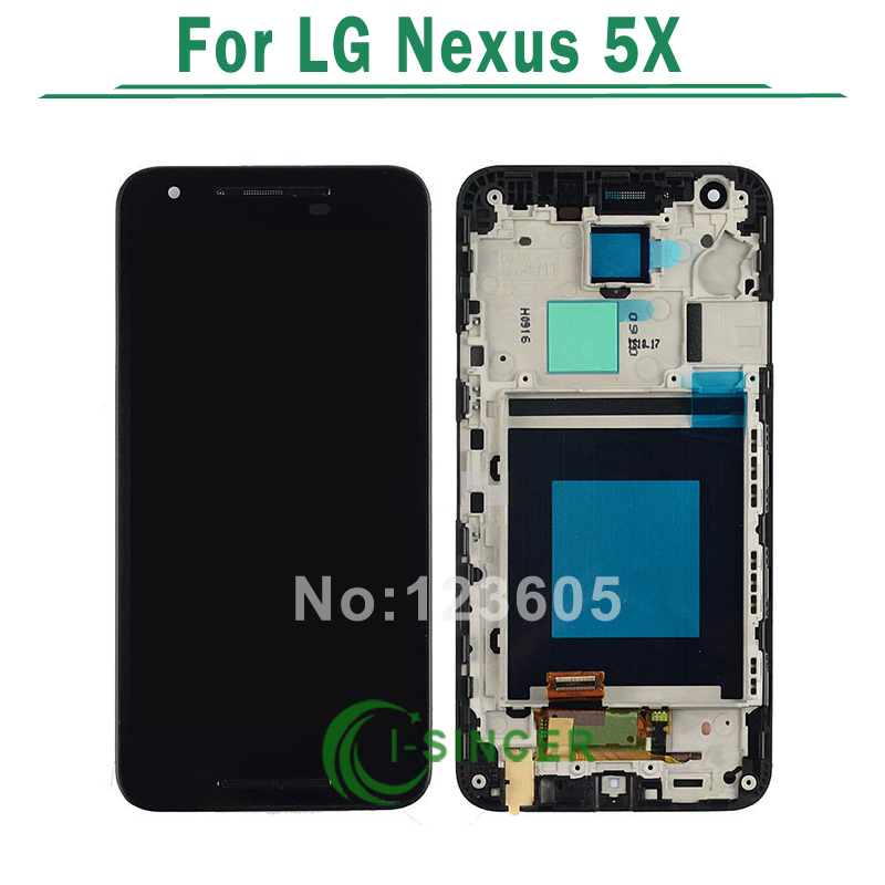 5PCS/LOT For LG Nexus 5x LCD Display With Touch Digitizer Screen Complete Assembly With Frame Free DHL new lcd touch screen digitizer with frame assembly for lg google nexus 5 d820 d821 free shipping