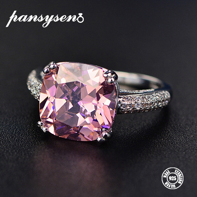 PANSYSEN 100 Solid 925 Silver 12MM Natural Gemstone Jewelry Rings Romantic Women s Wedding Engagement Fine PANSYSEN 100% Solid 925 Silver 12MM Natural Gemstone Jewelry Rings Romantic Women's Wedding Engagement Fine Jewelry Wholesale