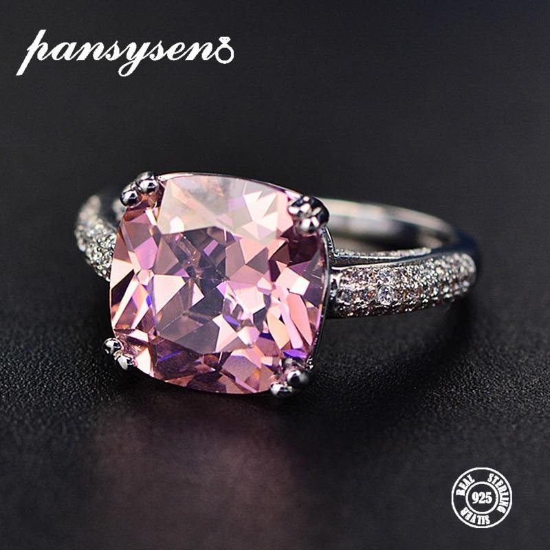 PANSYSEN 100 Solid 925 Silver 12MM Natural Gemstone Jewelry Rings Romantic Women s Wedding Engagement Fine Innrech Market.com