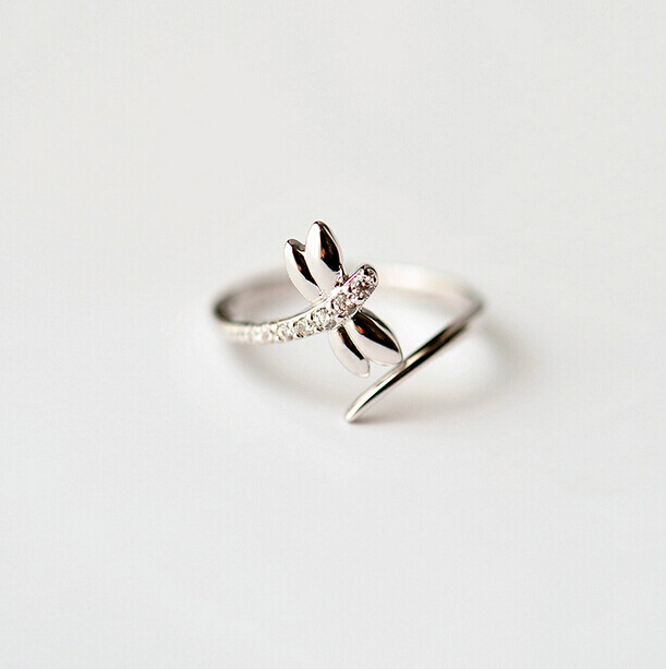Simple Silver Wedding Rings For Women Simple Dragonfly Engag...