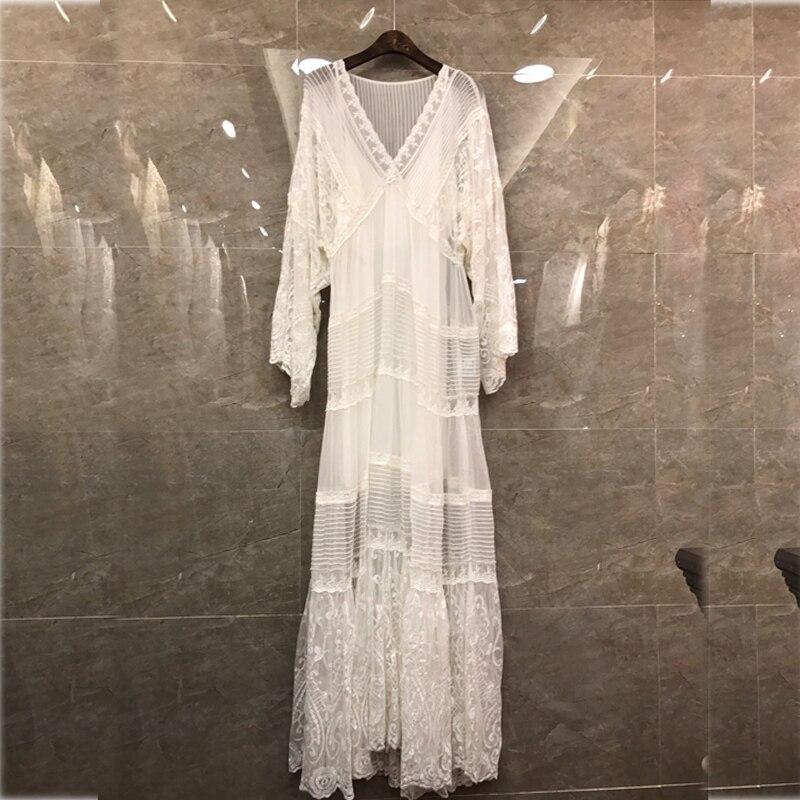 2019 lato projektant koronki siatki biały kobieta sukienka w dużym rozmiarze elegancki dekolt w serek z długim rękawem dwa kawałki sukienka wakacje wakacje Vestidos w Suknie od Odzież damska na  Grupa 3