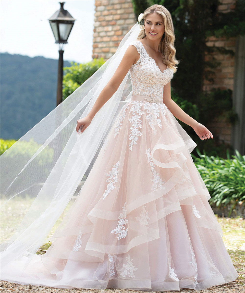 Custom Made Ball Gown Lace Luxury Elegant Formal Pink Wedding Dresses Sexy V neck Cap Sleeve Tiered Vestido de Noiva