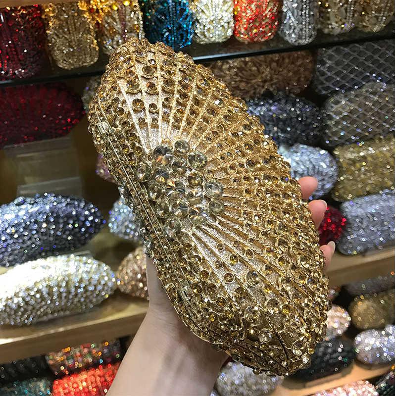 Berlian Mewah Warna Merah Clutch Malam Kristal Tas 2018 Pesta Wedding Evening 100% Buatan Tangan Kristal Wanita Dompet