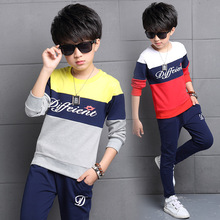 5 6 7 8 9 10 11 12 13 14 years Sports Suits For Boys Cotton Children Clothing Letter T-Shirt + Pants 2Pcs Boys Kids Tracksuits