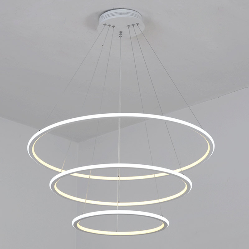 Modern Lustre Led Ring Pendant Light Fixtures With Remote Control Kitchen Living Room Bar Hanging Lamp Decor Home Lighting White
