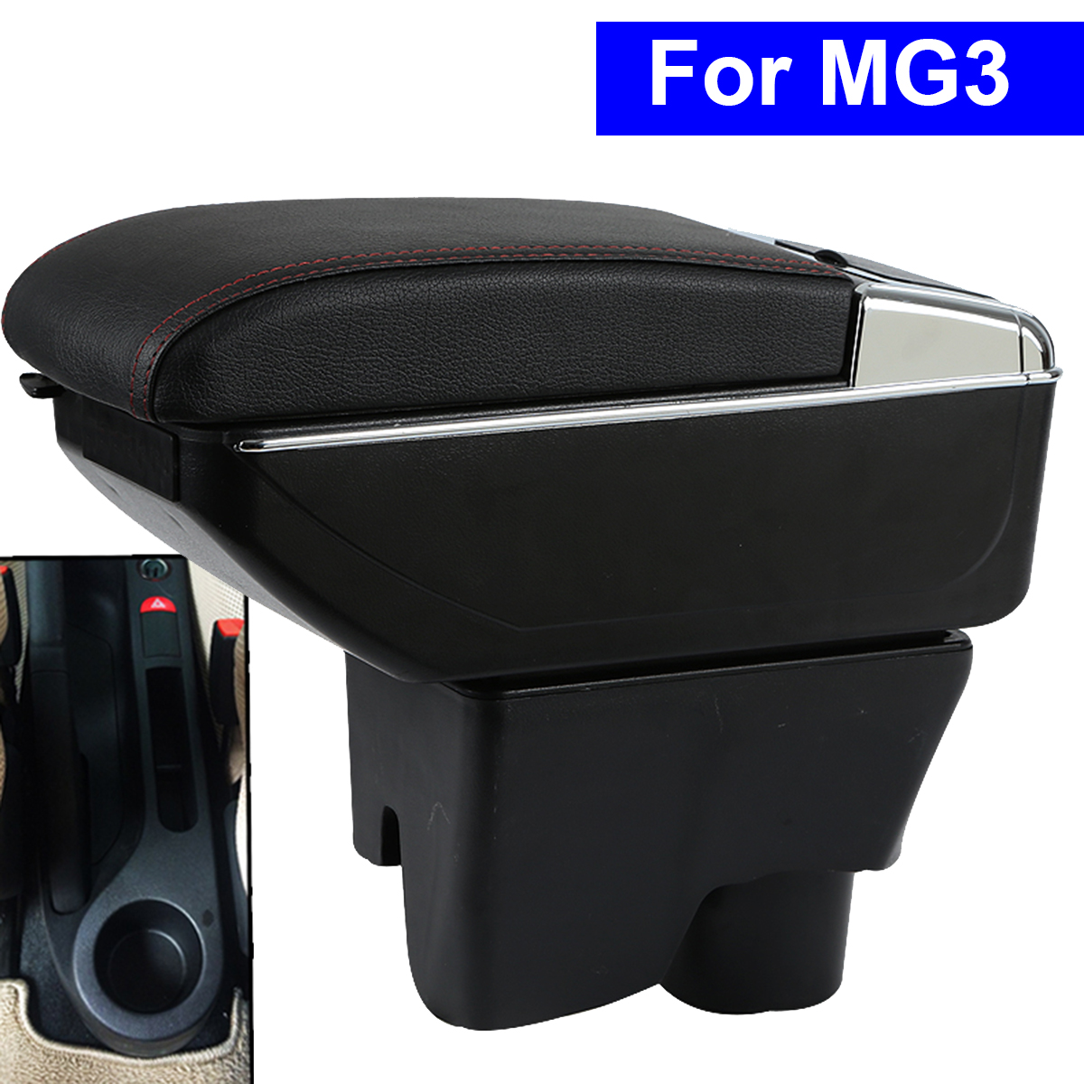 Leather Car Interior Parts Center Console Armrest Box for MG3 2011 2012 2013 2014Auto Armrests with USB CUP Holder Free Shipping universal leather car armrest central store content storage box with cup holder center console armrests free shipping