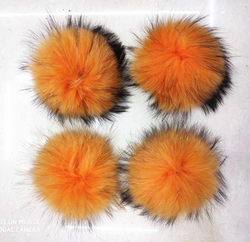 Fofo 14-15 cm Natureza Real de Pele De Guaxinim Bola De Pêlo Colorido Pom poms para Malha Gorros Caps Chaveiro acessórios de vestuário