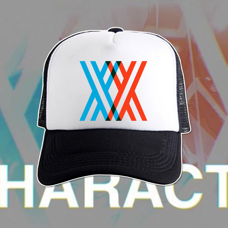 Anime DARLING in the FRANXX Cosplay Cap 02 Zero Two Baseball Cap Daily Adjustable Net Caps Hip Hop Sprots Cap 2 Colors