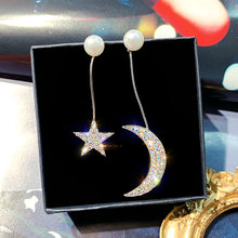 2019 women's fashion jewelry hot sell in Korea asymmetric star moon earrings long style full crystal earrings(China)