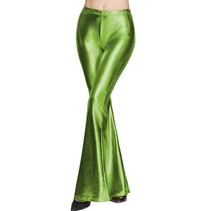 XDDXLOL Casual Pu Faux Leather Flare Pants Clubwear Trousers Women High Waist