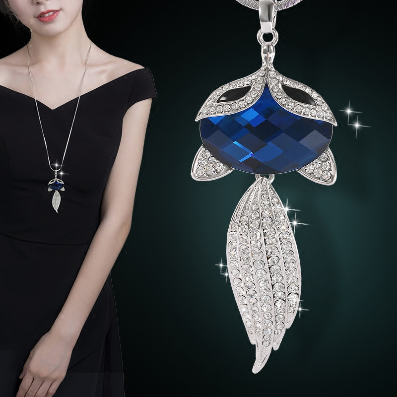 Fox Necklace For Women Silver Filled Crystal Long Sweater Chain Necklaces Pendants Christmas Gift For Girl