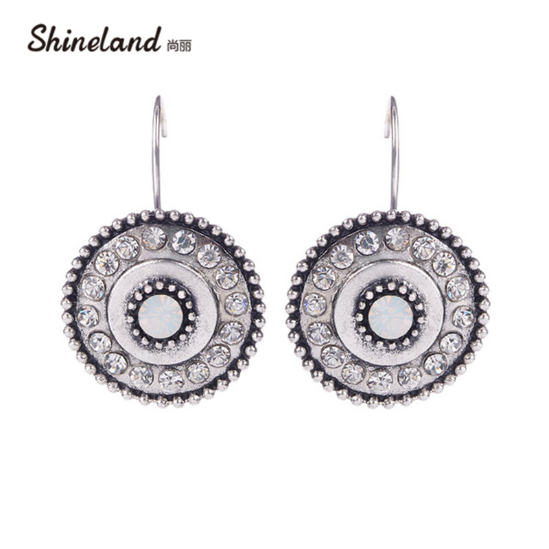 pendientes Brinco Fashion Classic Silver Color Alloy Full Crystal Round Shape Clip On Earrings Statement Jewelry Bijoux 2018