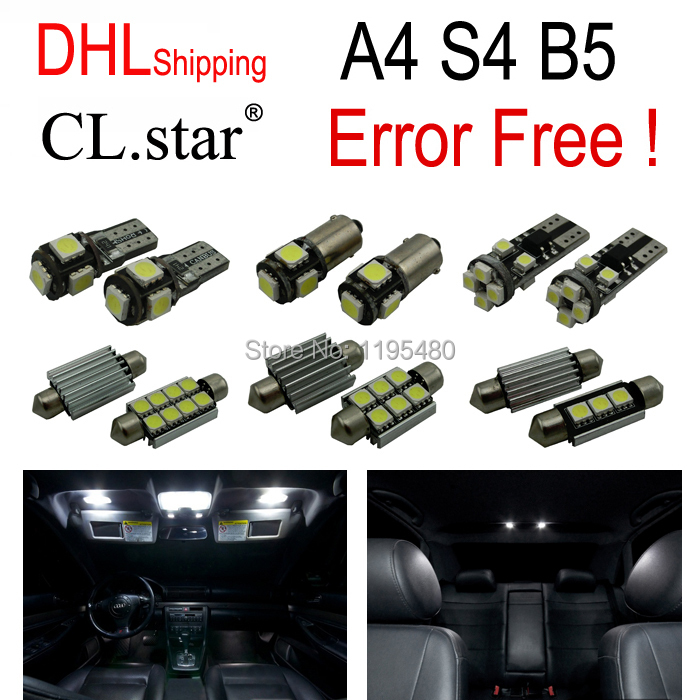 17pc X Canbus LED Interior Light Kit Package for Audi A4 S4 B5 Sedan Avant (1996-2001) by DHL shipping free shipping 60 17x a4 s4 b5 1998 2001 white led lights interior package kit canbus