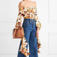 2018 New Runway Female Chiffon Blouse Mini Sexy Off Shoulder Printed Flowers Womens Shirt Flare Sleeves