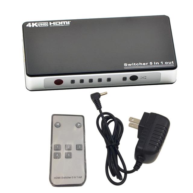 Hot NEW Prático 5 Portas HDMI Mudar Switcher 5 Em 1 Splitter 1.4 V EUA Plug de Saída Para Monitor de TV de Controle Remoto projetor