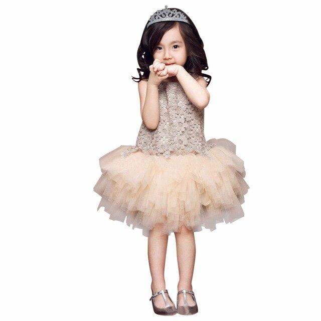 Thời trang Ren Vest Cô Gái Ăn Mặc Bé Gái Công Chúa Ăn Mặc 3-7 Tuổi Chlidren Quần Áo Trẻ Em Bên Trang Phục Bóng Áo Choàng màu be