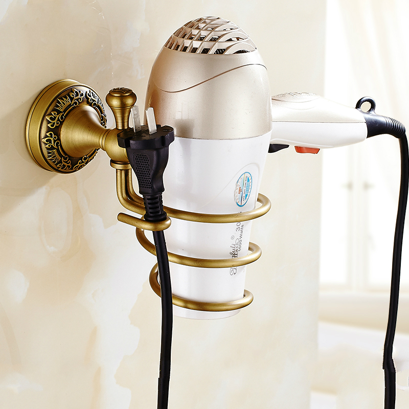 ФОТО European Carved Bronze Hairdryer Holder Antique Copper Hairdryer Hanging Bathroom Shelf Bathroom Accessories Products fs4