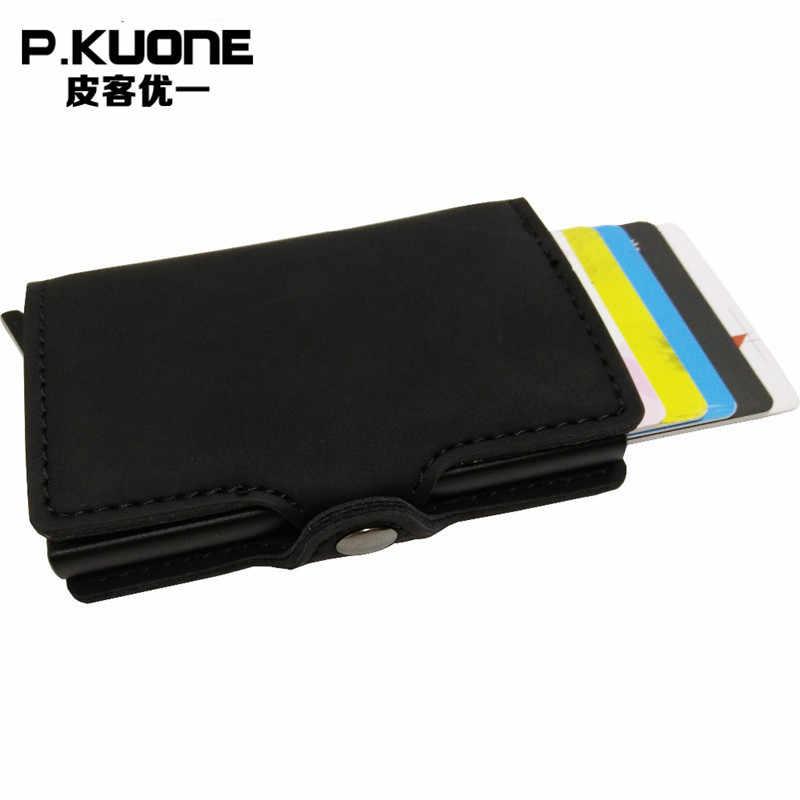 P. KUONE RFID Блокировка мини бумажник 2017 Защитите безопасный кредитной держатель для карт качество дизайнер Алюминий искусственная кожа клип Уоллер кошелек