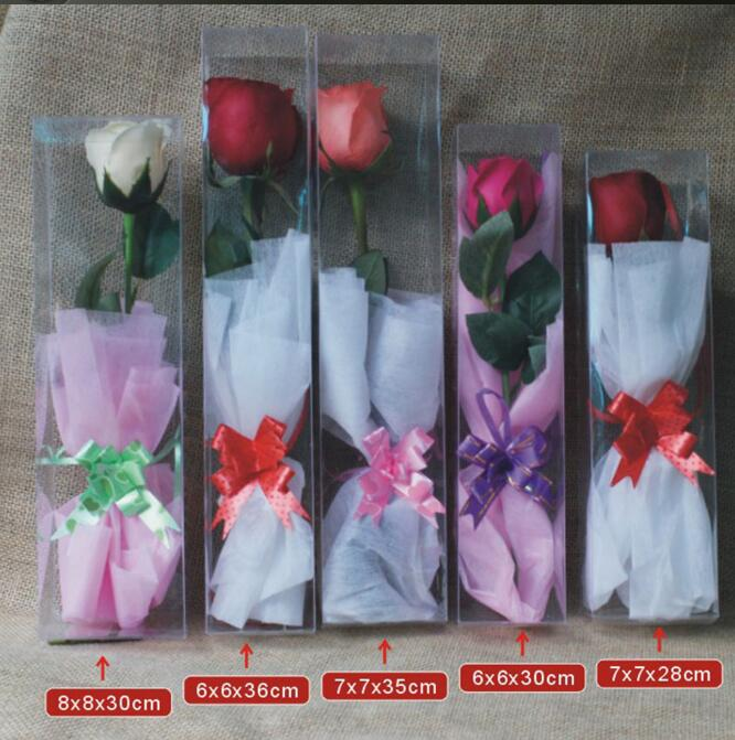 Transparent Packaging PVC Box Special Packing for Roses Toy Display Box Wedding Party Flowers Package Gift Box