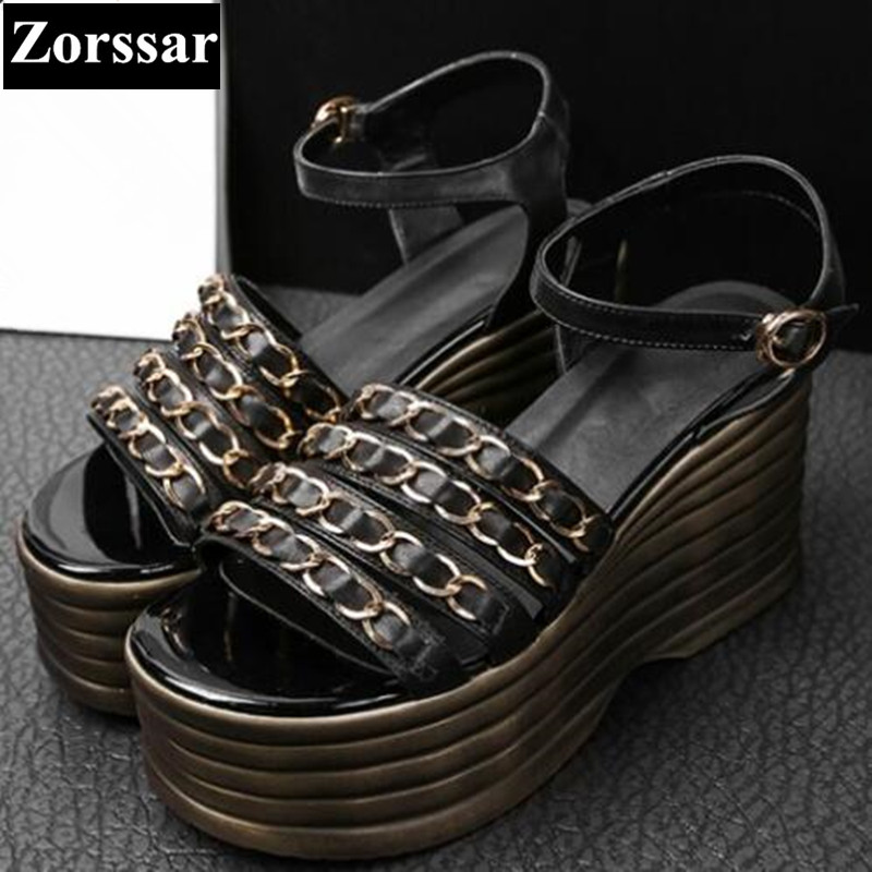 Summer shoes Casual Women Platform wedges sandals open toe woman creeper shoes 2017 Fashion chain womens peep toe High heels