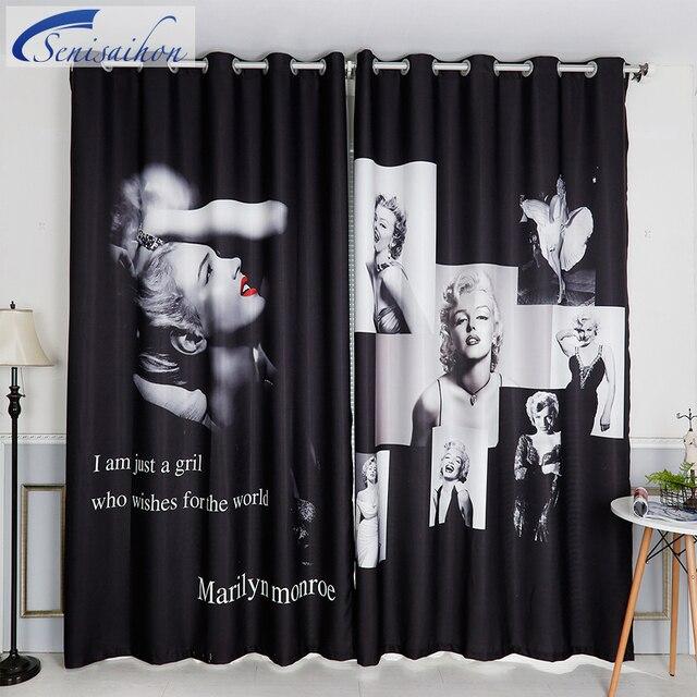 Senisaihon 3d Blackout Curtains Marilyn Monroe Star Wedding Pattern  Thickened Velvet Children Bedroom Curtains For Living