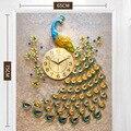Домашний декор настенные часы Павлин гостиная спальня бесшумные настенные часы креативные металлические цифровые настенные часы современ...