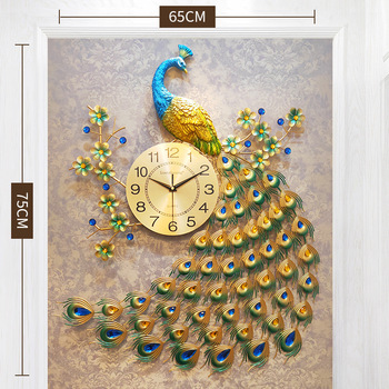 Home Decor Peacock Wall Clock Living Room Bedroom Silent Wall Watch Creative Metal Digital Clock Wall Modern Design Clocks 14 inch creative transparent suspension wall clocks nordic simple quartz clock home living room wall decor