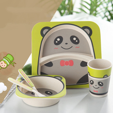 Natural Bamboo Bowl With Cup Spoon Plate Fork for Kids