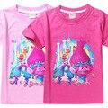 Mais novo crianças menina camiseta caráter Trolls top t-shirt do bebê dos desenhos animados da criança verão meninas traje Crianças Roupas casuais