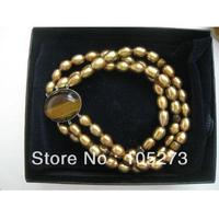 Stunning Gem Stone Jewelry Brown Rice Freshwater Pearl Crystal And Tiger Eye Bracelet 7 8mm 8'' Top Quality New Free Shipping