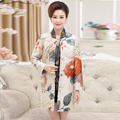 2016 Spring Middle Aged Womens Floral Printing Design Maxi Trench Coats For Ladies Casual Overcoat Plus Size Coat 5XL,G247