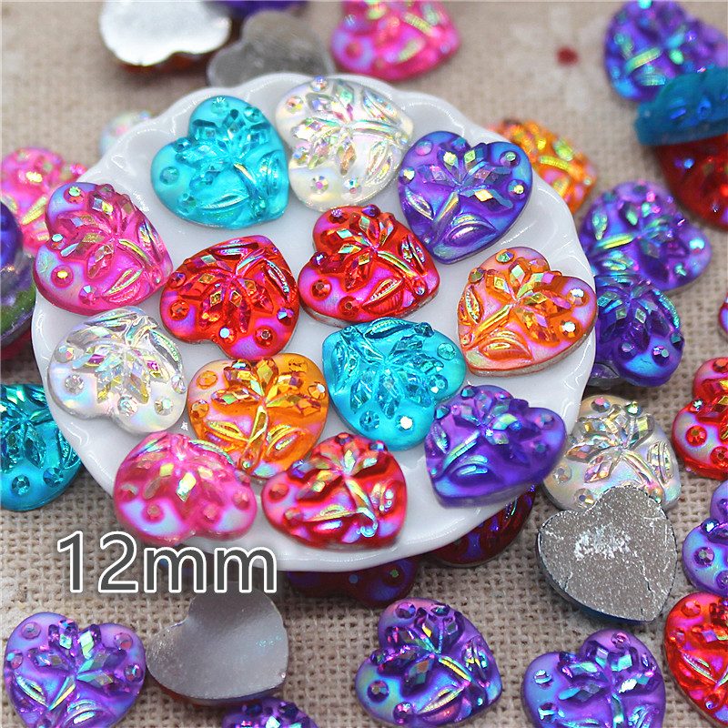 100pcs 10mm heart shiny AB color flower Acrylic rhinestone Flat back Cabochon Art Supply Decoration Charm Craft DIY no hole