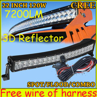 Free DHL UPS Fedex Ship 22 120W 7200LM 10 30V 6500K LED Working Bar 3D Reflector