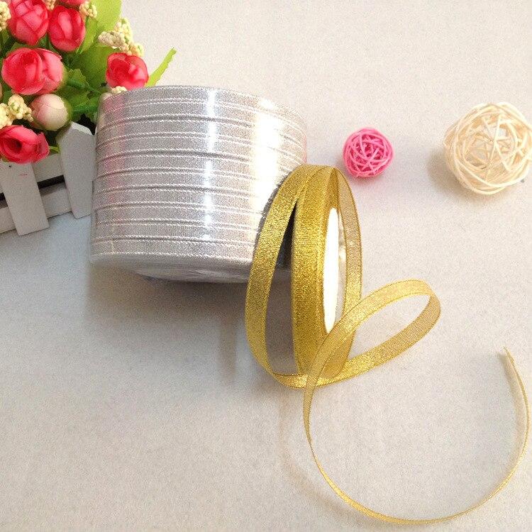 Gold and Silver Ribbon 25 Yard 22M Metallic Luster Wedding Christmas Decoration DIY Webbing Card Gift Wrapping