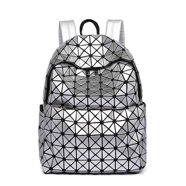 School bag laser hologram silver geometric baobao folding women backpack  bags sequins girl shoulder daily backpacks rucksack 620e71dd287be
