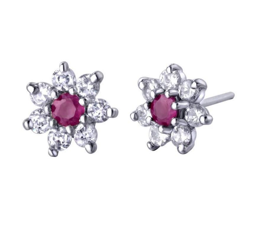 все цены на Natural Ruby stud earring Free shipping Jewelry Natural real Ruby 925 silver Gem size 3*3mm онлайн