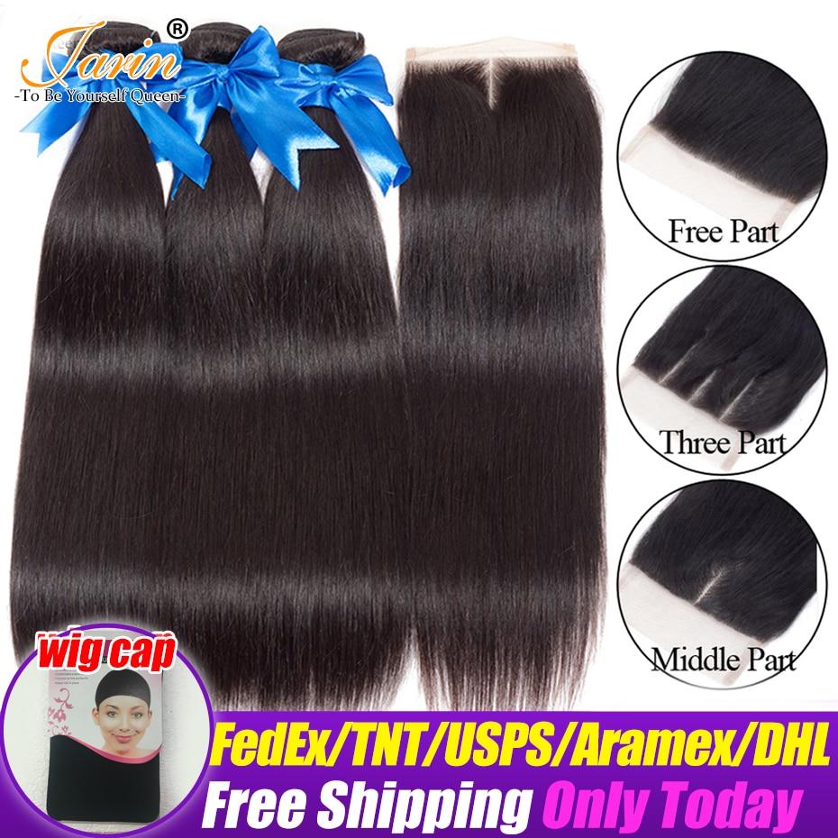 Jarin Straight Hair Extension 100 Human Hair Bundles With Closure Brazilian Hair Weave 2 3 Bundles